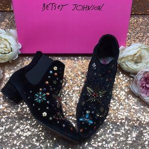 Betsey Johnson Black Embellished Bootie 5.5M